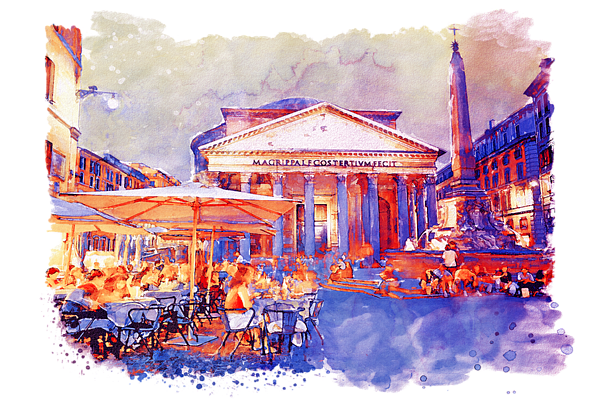 Pantheon drawing wall. The rome watercolor streetscape