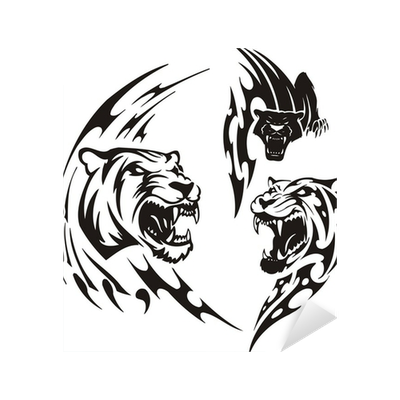 Panther tribal png. Two lionesses and black