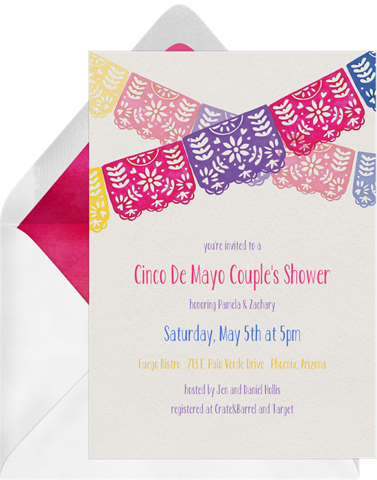 Papel picado banner png. Invitations in white greenvelope