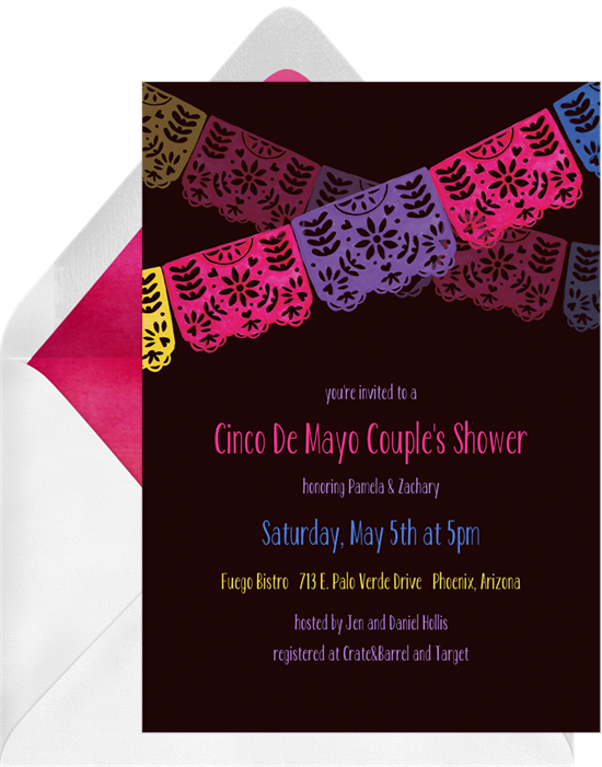 Papel picado banner png. Invitations in black greenvelope