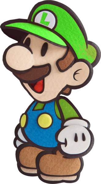 Paper luigi png. Sticker star style by