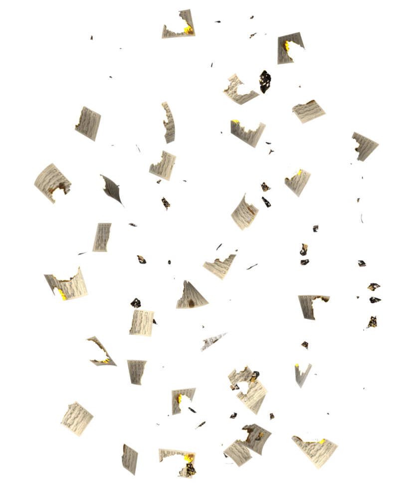 Falling paper png. Restricted burnt music sheets