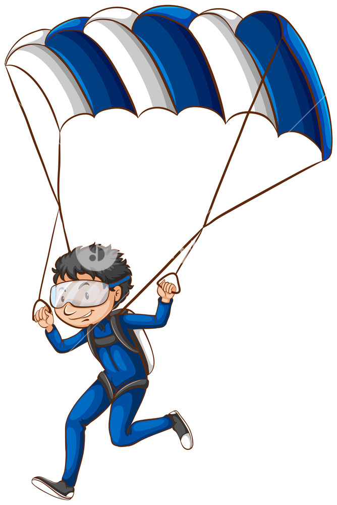 Parachute clipart air transport. A drawing of pilot