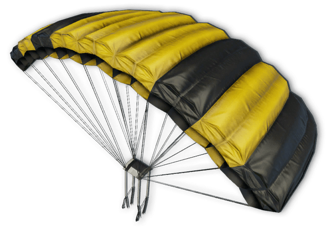Parachute transparent png. Yellow and black stickpng