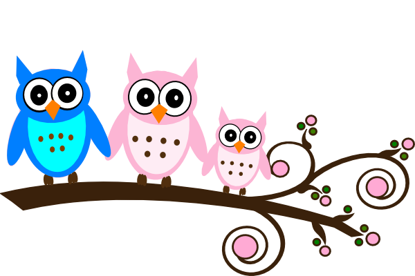 Pink owl on branch. Parents clipart cute picture