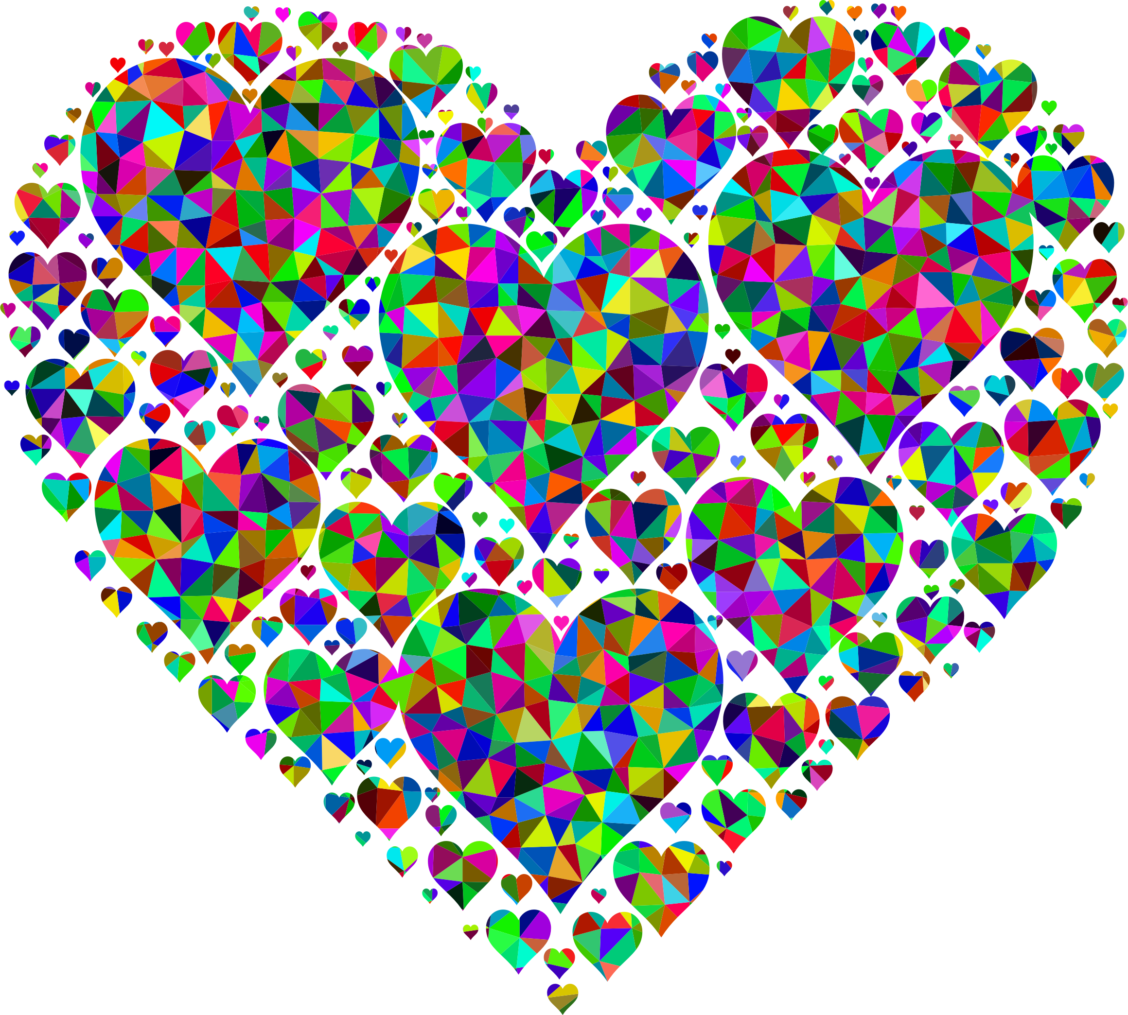 Paris clipart prismatic. Low poly hearts in