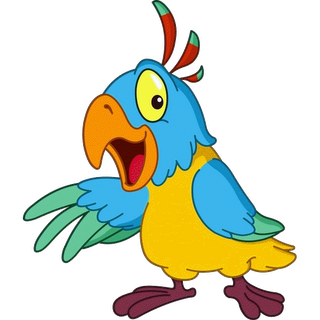 Parrot clipart comic. Cute cartoon bird gif