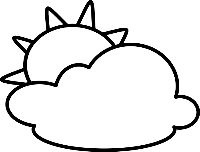 Partly clipart partly cloudy. Outline weather icons black