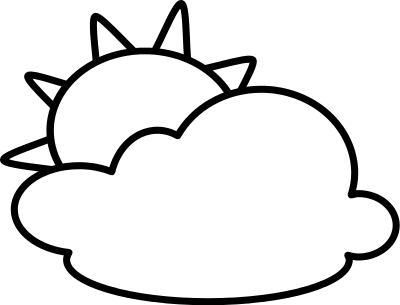 Sunny partly cloudy clip. Weather clipart different weather picture black and white library