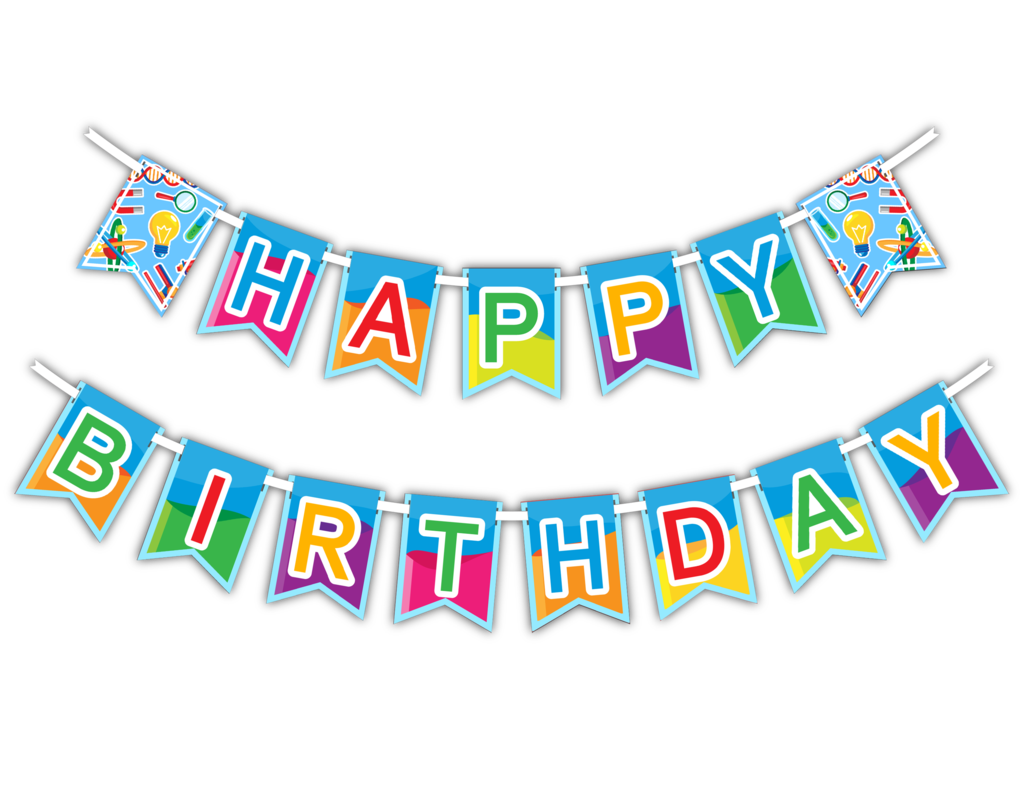 Party banner png. Super science happy birthday