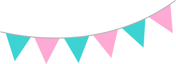 Party bunting png. Pink teal clip art
