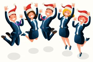 Party clipart office party. Christmas isometric people cartoon
