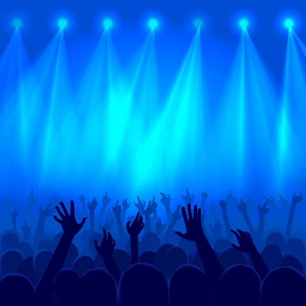 Party crowd raised hands silhouettes at a concert. Concept of