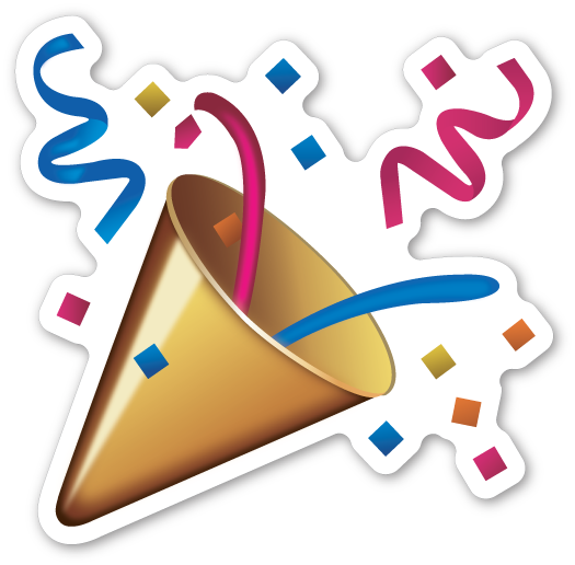 Party popper png. Emojistickers com