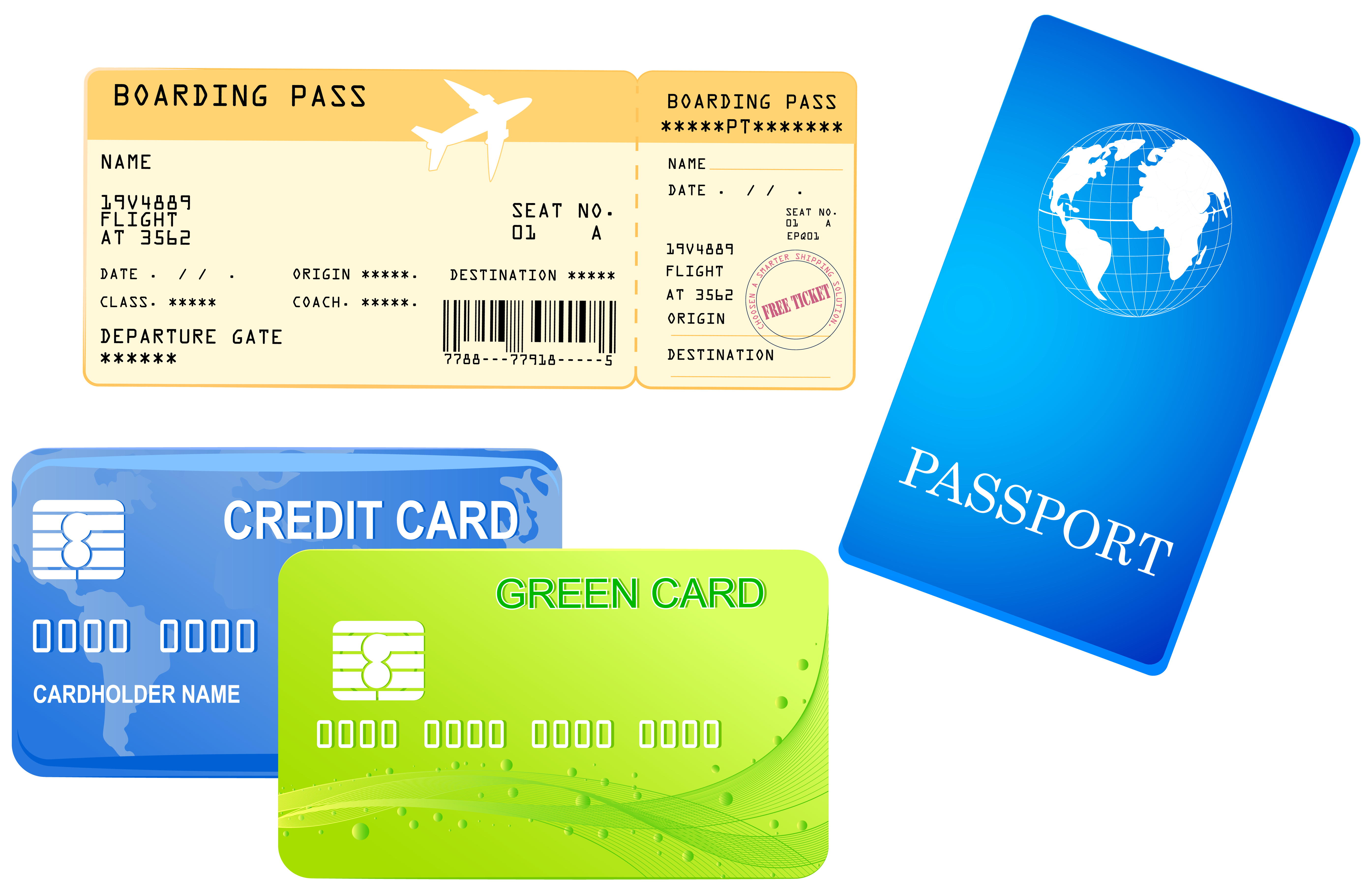 Credit cards ticket and. Passport clipart picture free library