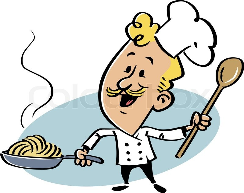 Smiling with a skillet. Cook clipart pasta chef clipart transparent
