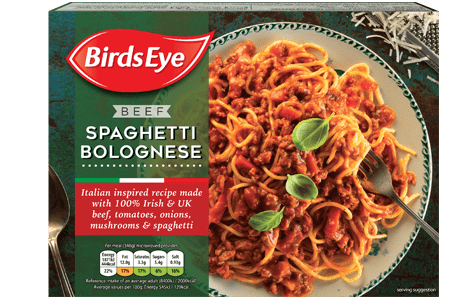 Pasta transparent pile. Spaghetti bolognese ready meals