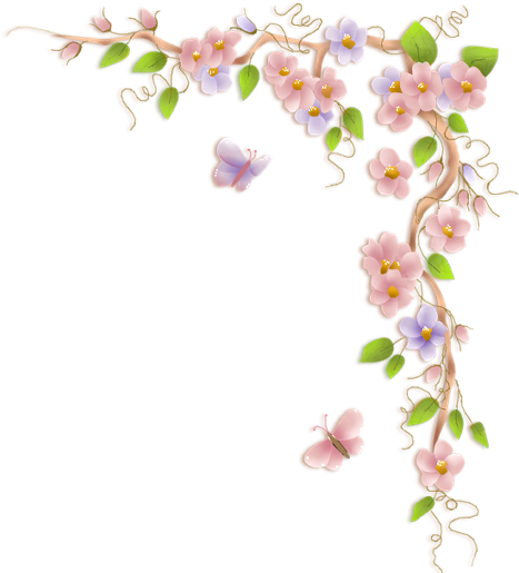 Corner flowers png. Pink pastels ourple butterfly