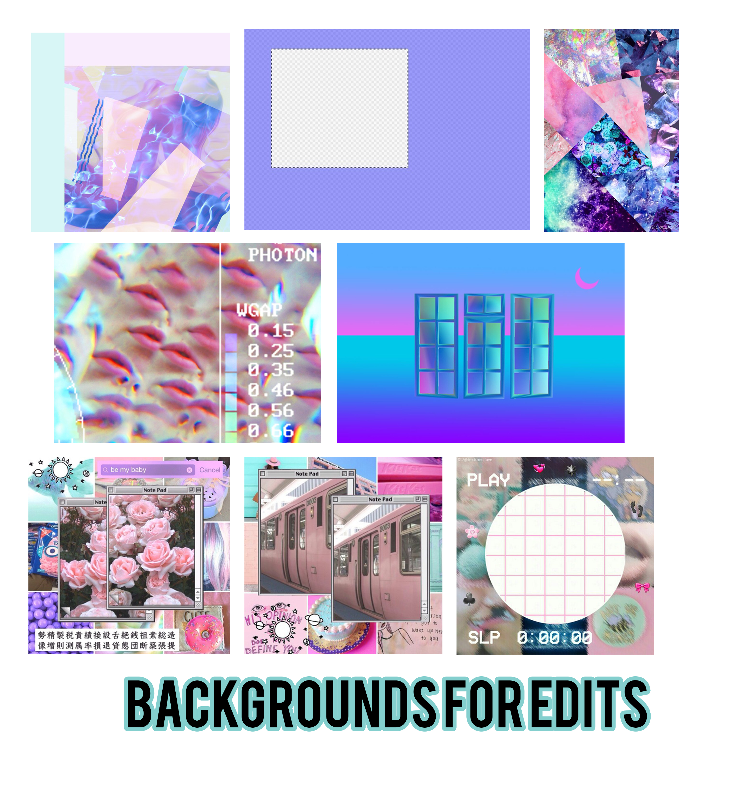 Vaporwave png pack. Backgrounds for edits by