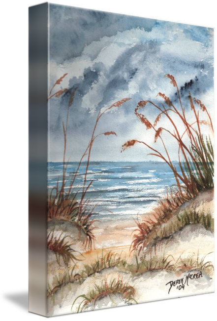 Pastels drawing beach. Dunes seascape print by