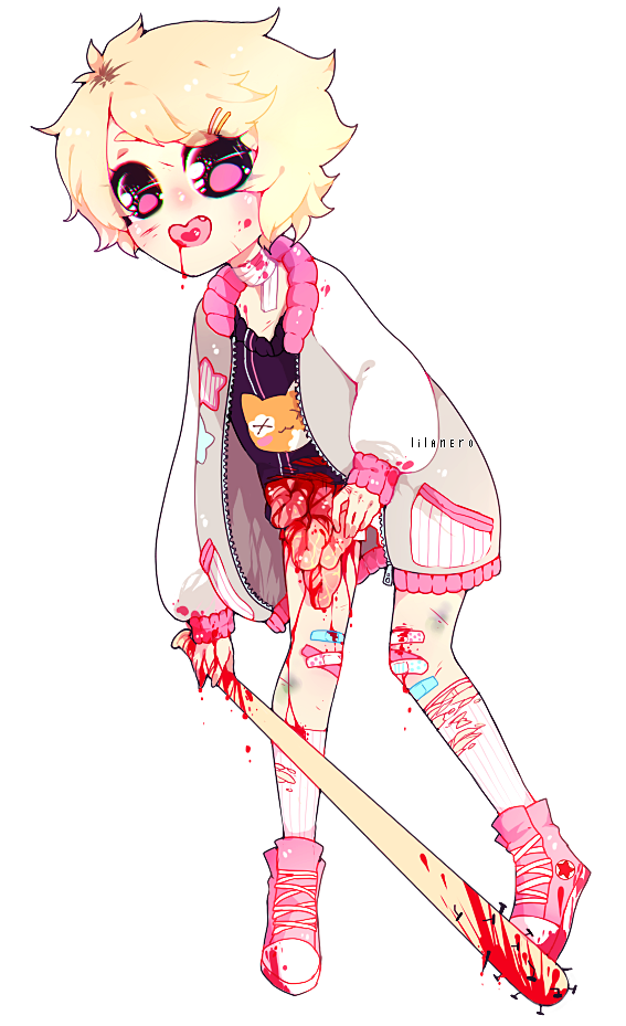 Pastels drawing boy. Bloody soft pastel gore