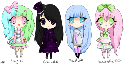 Pastels drawing fairy. Cute chibis kei gothic