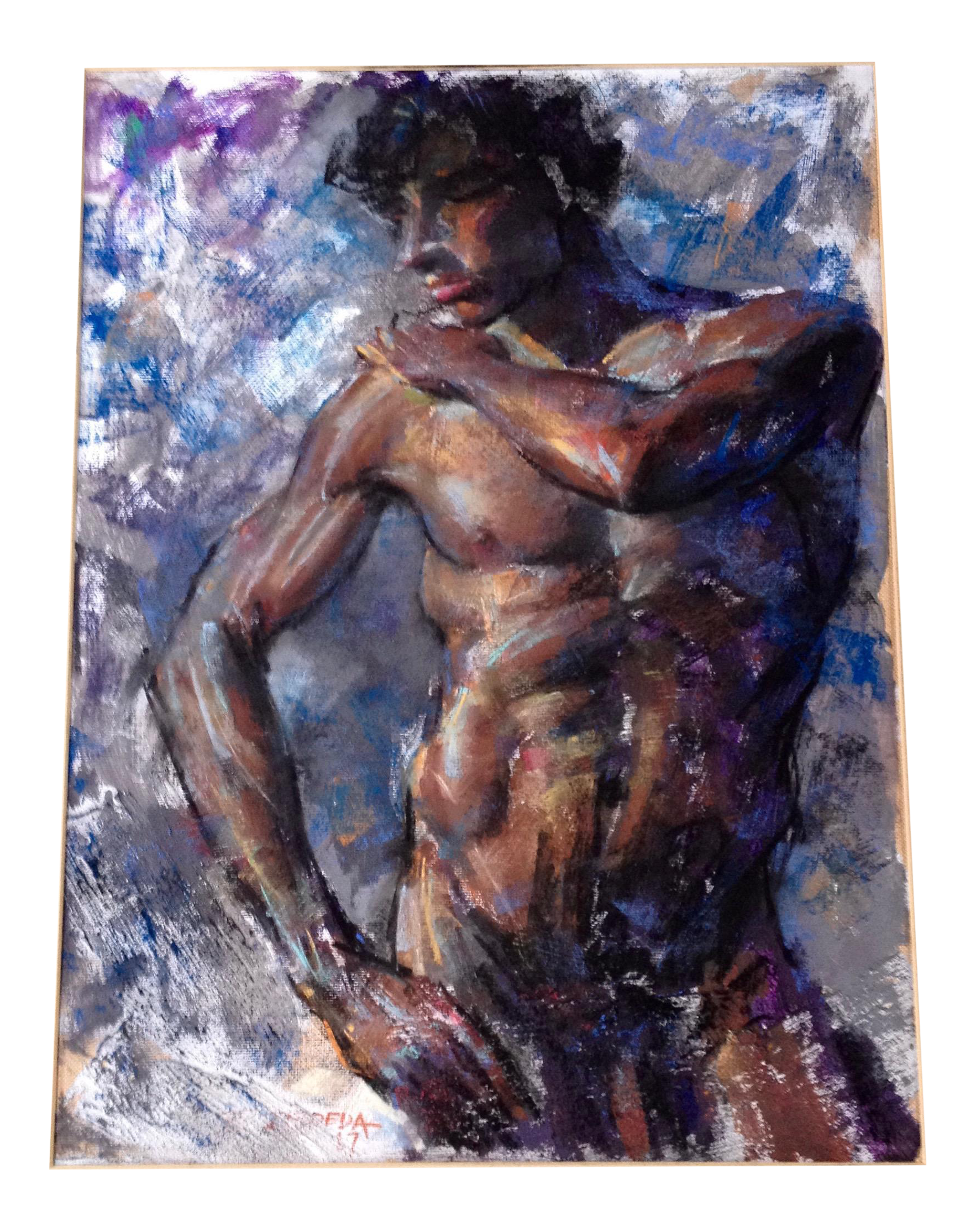 Pastels drawing hyper realistic. Pastel male nudes by