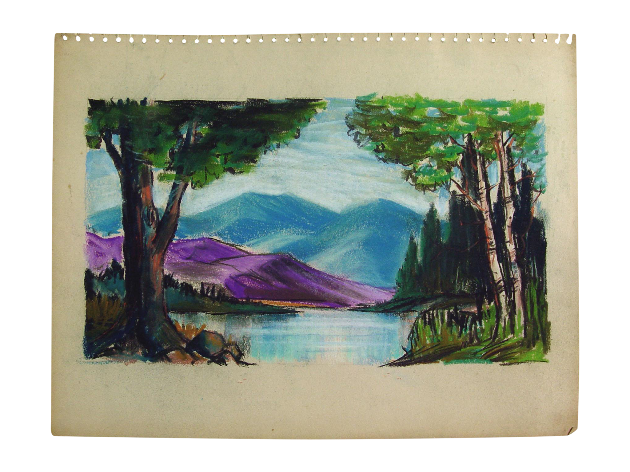 Pastels drawing impressionist. Mountain lake pastel chairish