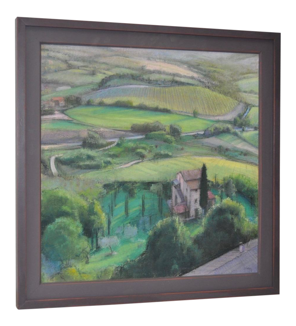Pastels drawing landscape. Italian pastel painting by