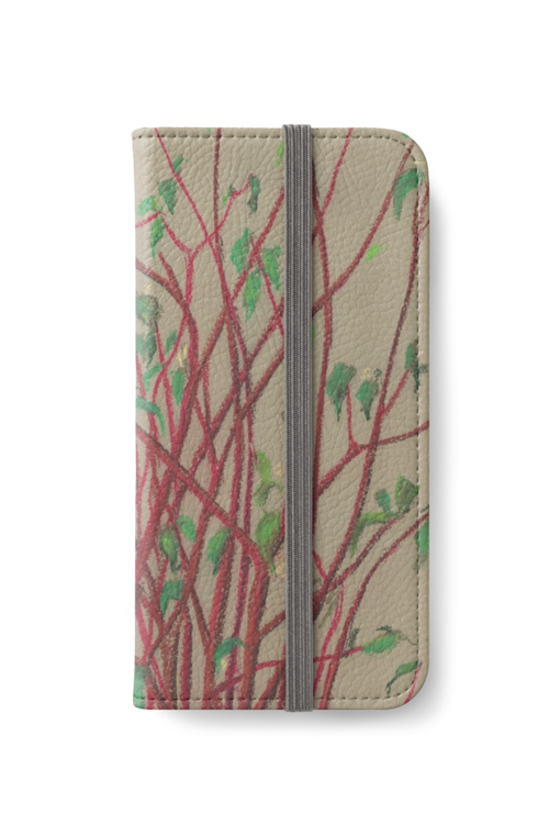 Pastels drawing nature. Red twigs iphone wallet
