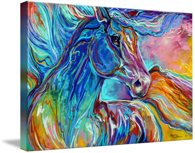 Pastels drawing nature. Painted pony abstract in