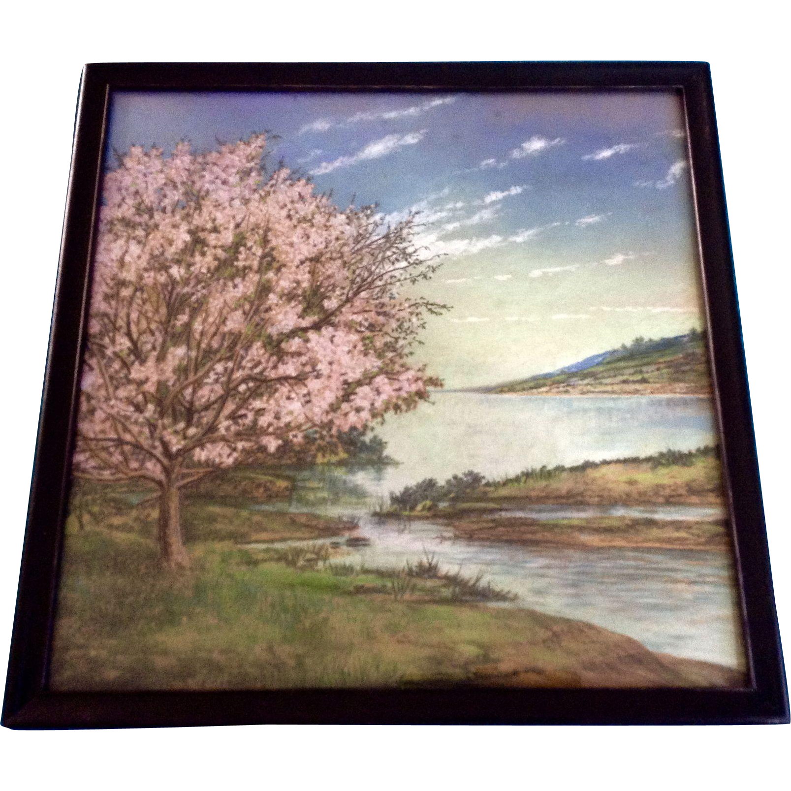 Pastels drawing night sky. Blooming pink tree by