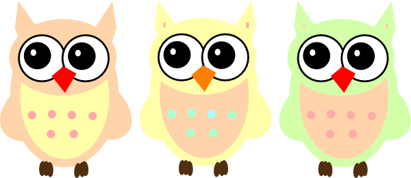 Pastels drawing owl. Pastel owls clip art