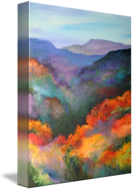 Pastels drawing sunrise. The hills are alive