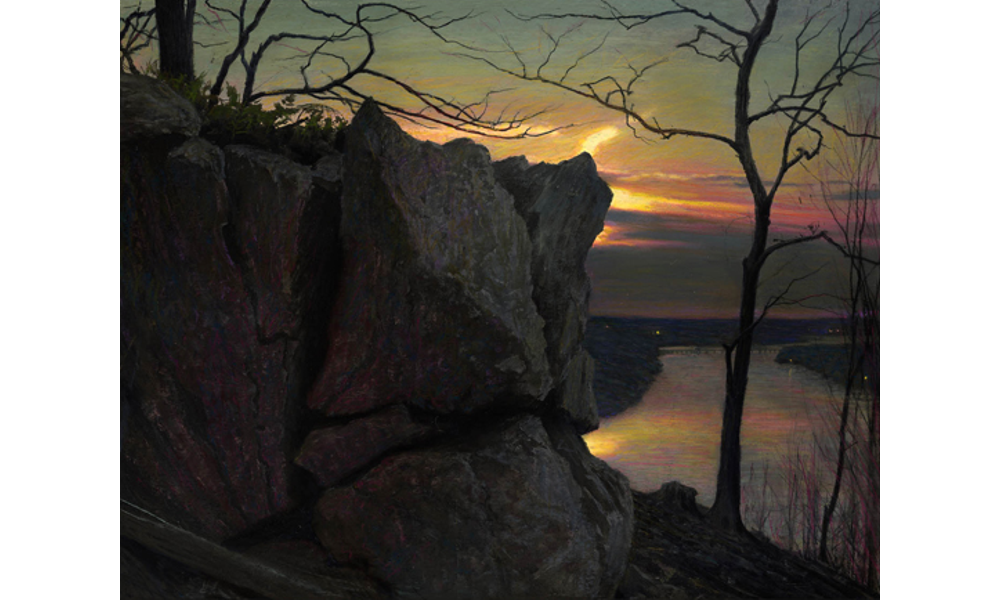 Pastels drawing sunrise. Rob evans mystery and