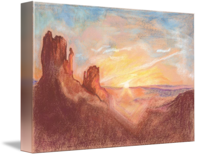 Pastels drawing sunrise. At monument valley by