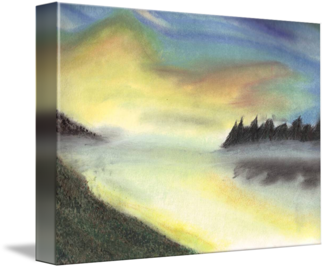 Pastels drawing sunrise. On the lake by