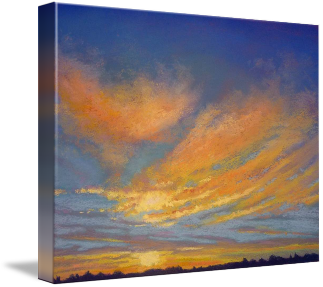 Pastels drawing sunset. Sunrise glory clouds by