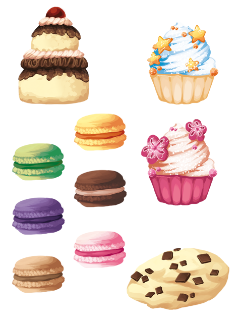 Pastry drawing. Collection of images