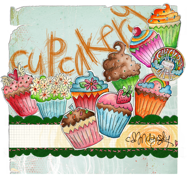Pastry drawing poster. Cupcakery by cd muckosky