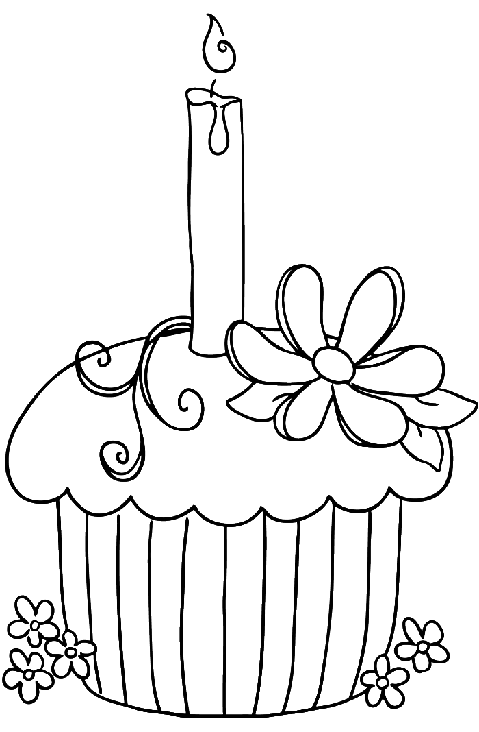 Pastry drawing coloring page. Cupcake happy birthday pages