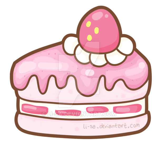 Pastry drawing cute. Strawberry yoghurt cake by