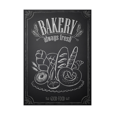 Pastry drawing poster. Vintage bakery with freehand