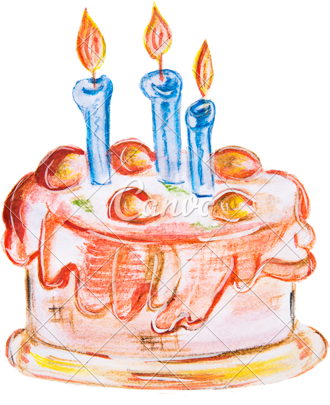 Pastry drawing watercolor. Illustration delicious cake photos