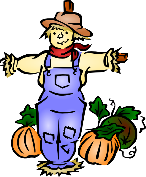 Scarecrow vector colored. Free clipart download clip