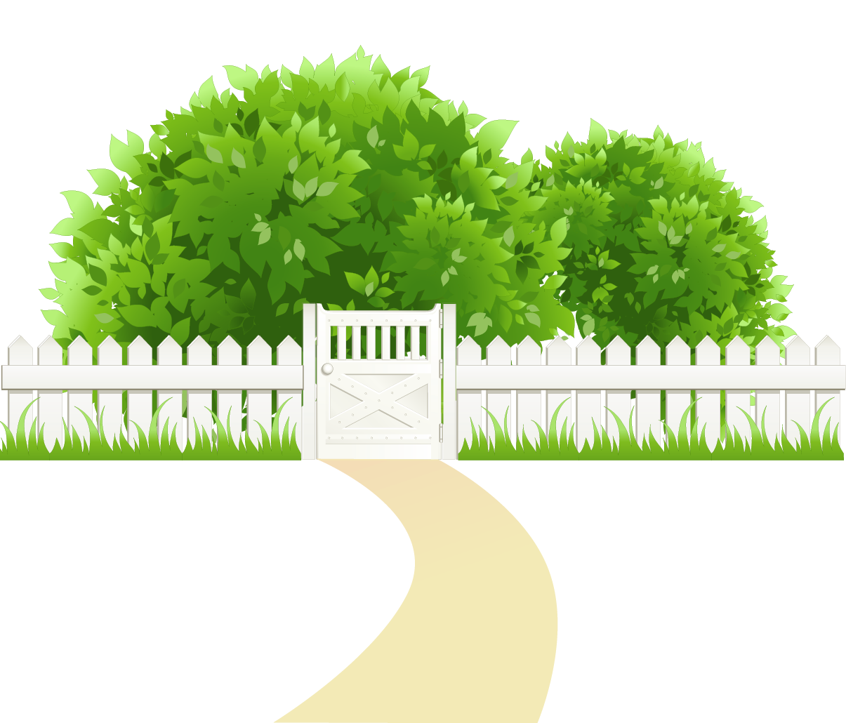 Stone clipart dirt path. With fence and trees