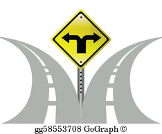 Path clipart two arrow. Vector stock junction road