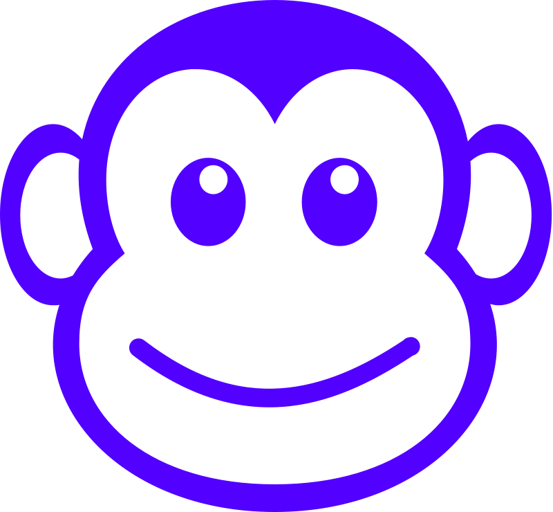 Vector path woodland. Funny monkey face simple