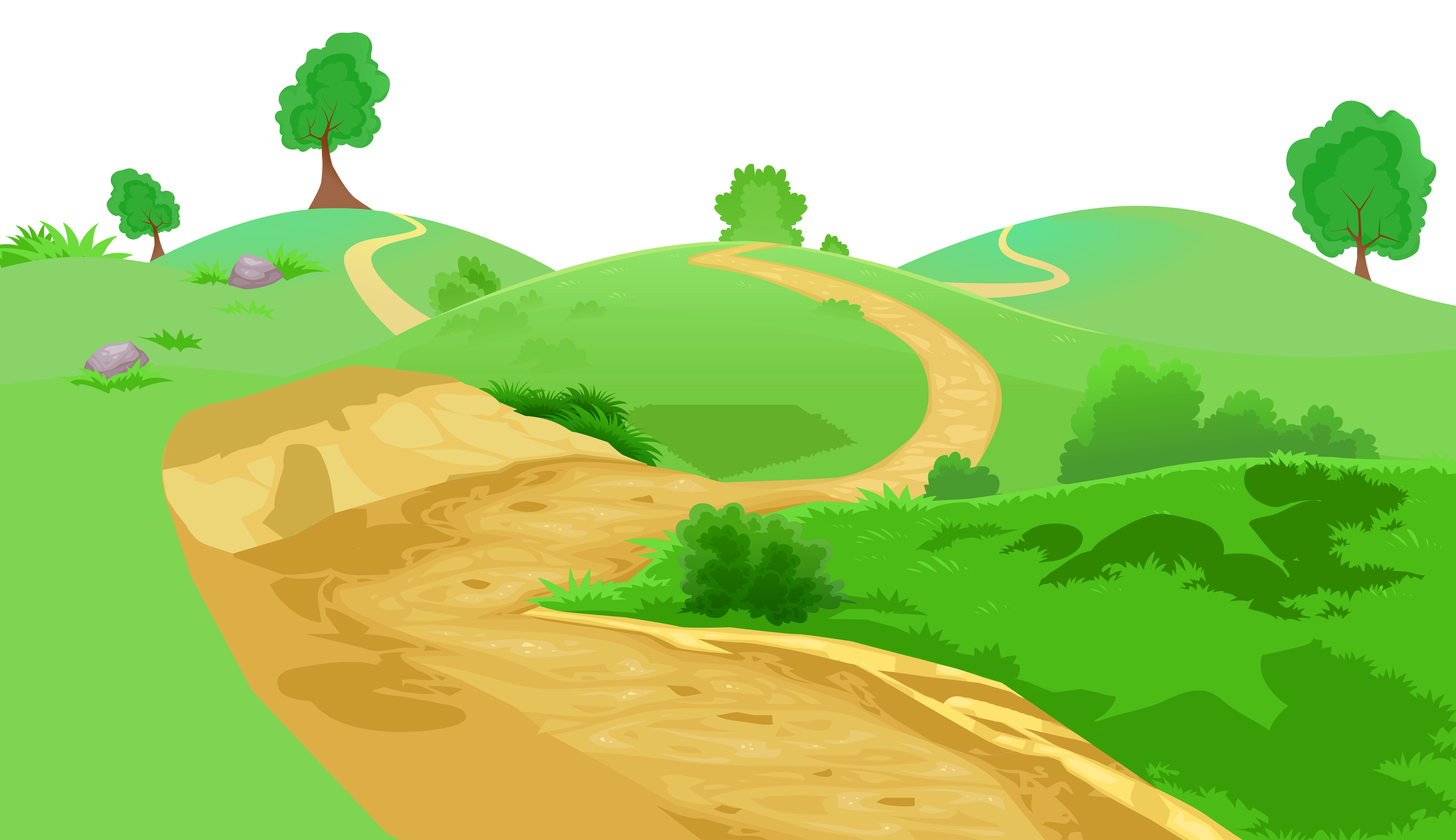 Vector hills path. Grass and pathway transparent