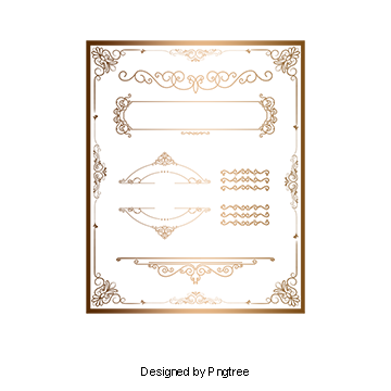 Gold frame png vector. Border vectors psd and